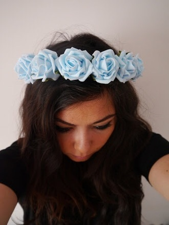 hair accessory flower crown boho blue
