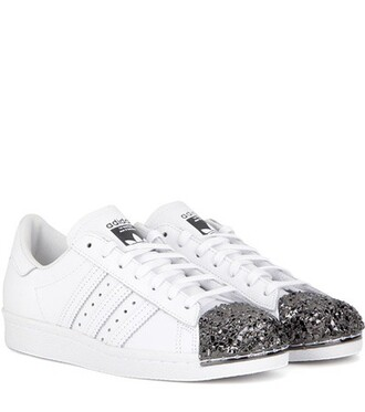 metal sneakers leather white shoes
