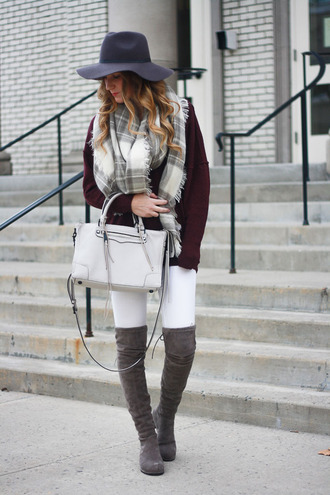 twenties girl style blogger sweater shoes bag scarf hat felt hat tartan scarf grey bag thigh high boots grey boots