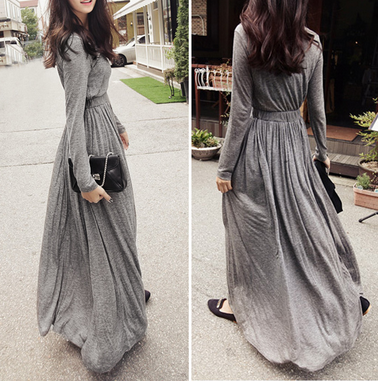 Elastic Waist Slim Maxi Dress
