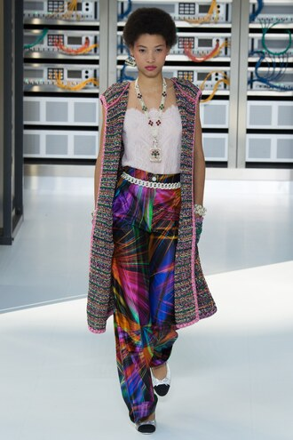 pants top vest necklace chanel paris fashion week 2016