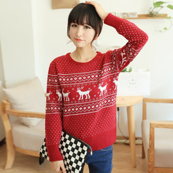 Online Shop New Fashion high quality long sleeve red christmas sweater deer/flower sweater pullover women reindeer sweater outwear|Aliexpress Mobile