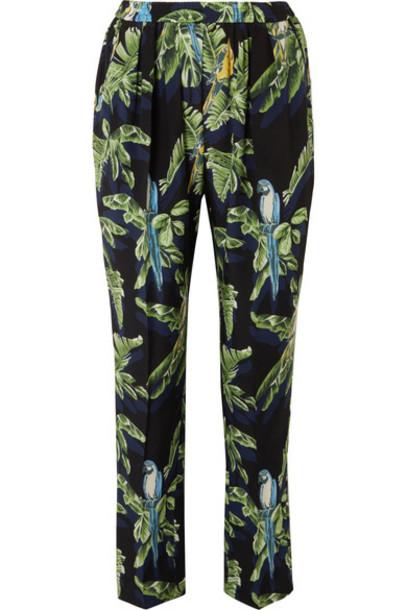 pants silk green