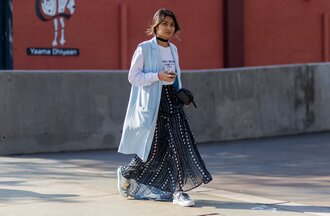 skirt maxi skirt long skirt stars printed skirt black skirt chiffon skirt boho chic long coat duster coat light blue blue coat graphic tee office outfits outfit idea black choker