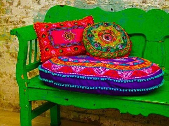 embroidered embroidery bag pillows cushions pom poms boho bohemian turkish