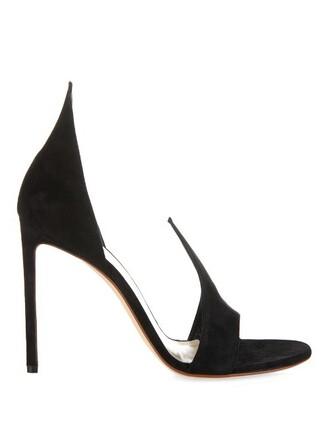 open sandals suede black shoes