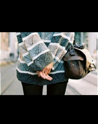 pattern stripes cotton pullover blogger tumblr outfit oversized sweater grey