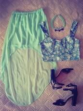 tank top,crop tops,maxi skirt,mint green skirt,necklace,statement necklace,skirt