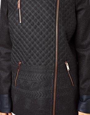 ASOS   ASOS Biker Coat in Pattern With PU Trims at ASOS