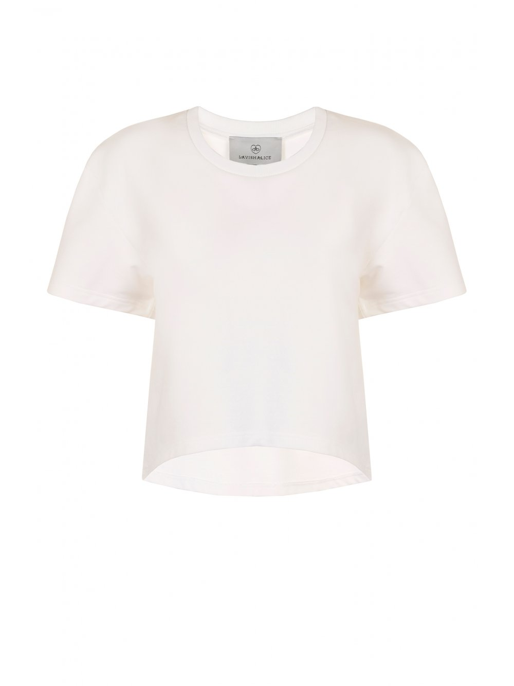 White jersey rib neck curved hem tee