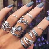 jewels,rings & tings,ring,bagues,jewelry,silver ring,knuckle ring,rings and tings,boho,boho chic,boho jewelry,bohemian,nail accessories,rings silver,couples rings,gold mid finger rings,silver,silver jewelry,ring stack,stacked ring,ring set