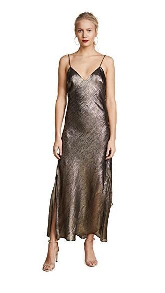 dress slip dress ruffle gold
