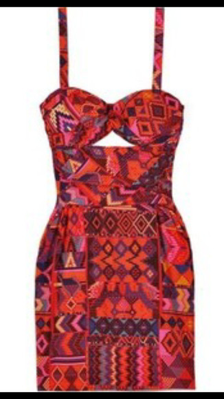 cut-out orange artez tribal  dress keyhole