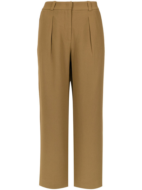 cropped women brown pants