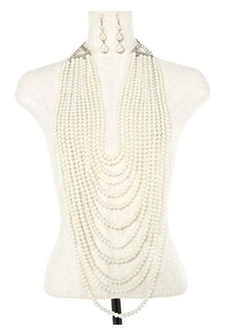 jewels layered pearl necklace white cream wedding vintage