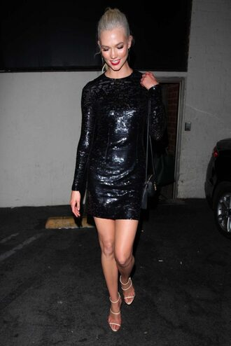 shoes sandals sandal heels nude sandals karlie kloss black dress sequin dress mini dress