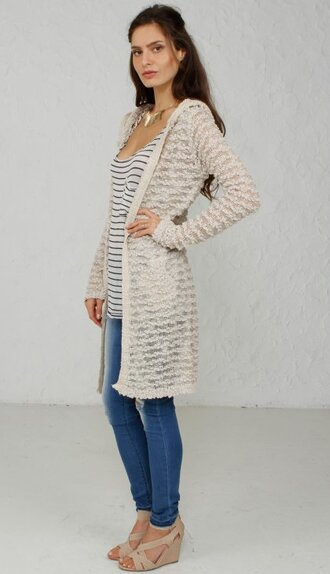 cardigan angl hoodie sheer details comfy sale discount shopping beige sweater on sale wedges stripes