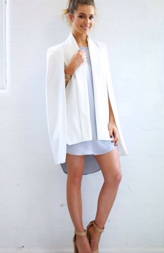 coat cape blazer cape coat white blazer cape-coat