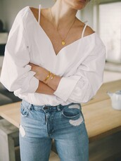 jewels,tumblr,bracelets,gold bracelet,gold necklace,necklace,gold jewelry,jewelry,denim,jeans,blue jeans,shirt,white shirt,v neck,spring,spring outfits,summer,chic,classy,minimalist jewelry,minimalist,white,elegant,straps,casual