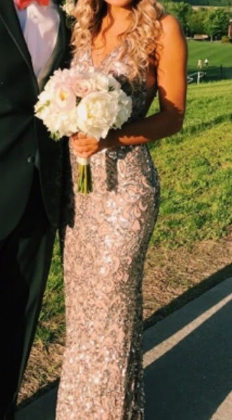 dress pink silver sequins prom dress prom pink dress