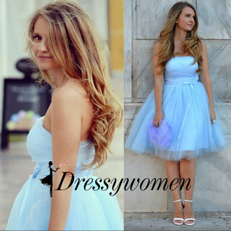 dress tulle prom gown sky blue prom dress short prom dress