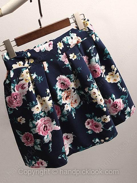 Dark Blue Floral Print Zipper Fly Shorts - HandpickLook.com
