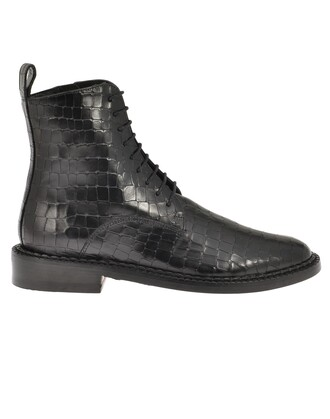 boot leather black shoes