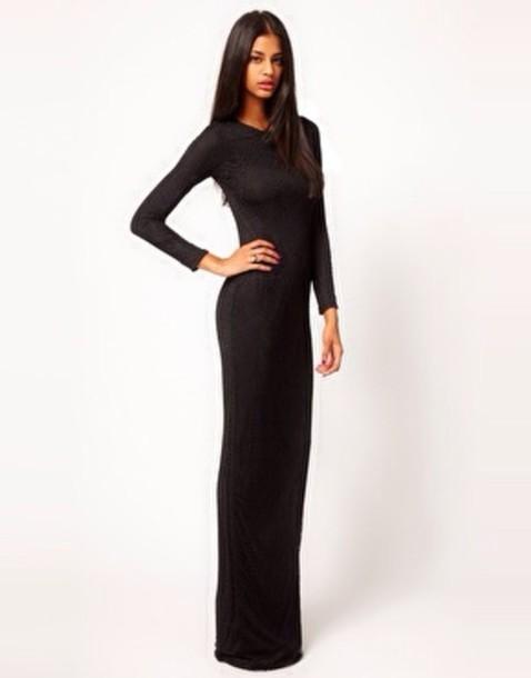 dress, black prom dress, black, long prom dress, maxi dress - Wheretoget