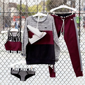 urban pink by victorias secret sportswear pants vspink burgundy sweatpants sports pants workout sports bra underwear pink victoria's secret cute girl tumblr nude cardigan black white grey stan smiths shirt joggers bra panties shoes top