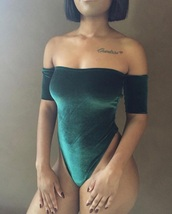 top,bodysuit,velvet,green,off the shoulder,veloir,tumblr,this bodysuits