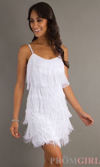 white fringe dress short