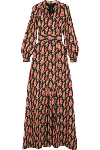 dress maxi dress maxi floral print black silk
