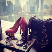 bag,chanel,handbag,high heels,black,pink,shoes
