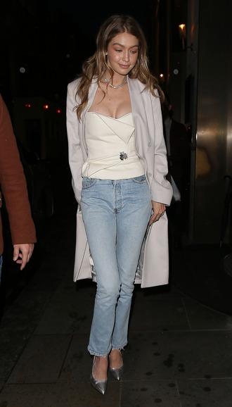 jeans coat gigi hadid model top bustier fall outfits pumps