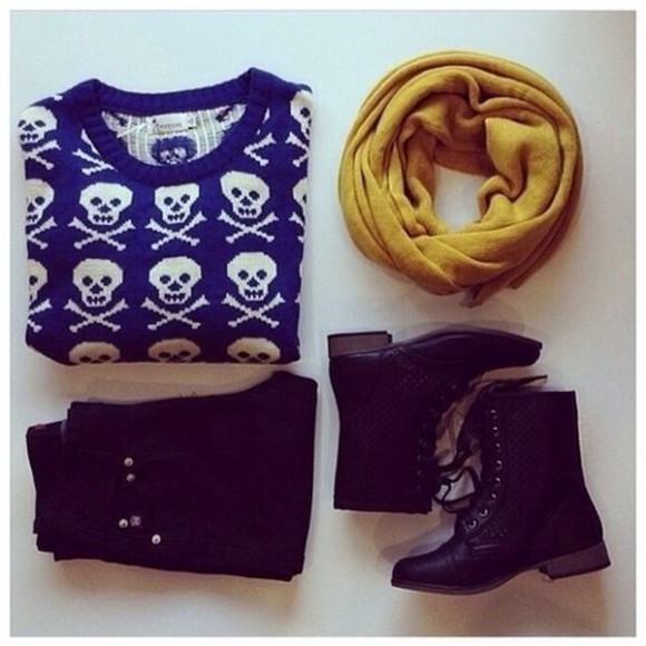 sweater blue sweater blue skeleton skeleton hipster skeleton sweater iloveit