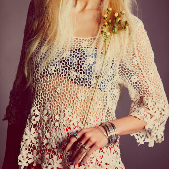 shirt top tops fashion clothes i4out look lookbook clothing lace tops crochet tops boho tops