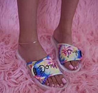 shoes rainbow tie dye don't trip cute cute sandals dope