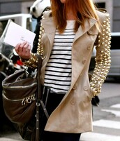 jacket,studded jacket,beige,studded,trench coat,coat,nude,classy,brown trenchcoat,gold,gold sequins,studs,coat pearl,mac cosmetics,spring,burberry