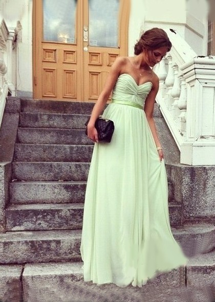 A-line Strapless V-neck Sage Sash Chiffon Prom Dress P3262