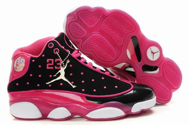 Comfortable And Nice Womens Air Jordan 13 Black Pink White Basketball Shoes [AJO100640] In US Size 8,8.5,9,9.5,10,11, 12,12.5,13.  : - Nike Jordan Shoes