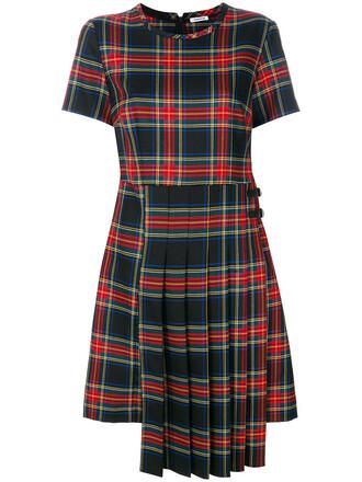 dress women spandex wool tartan red