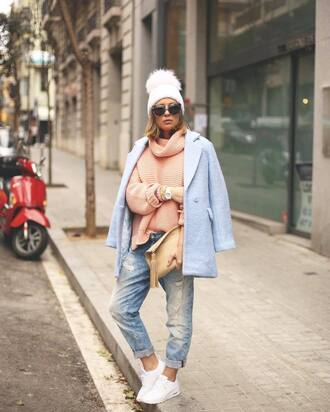 hat tumblr beanie pom pom beanie sunglasses coat blue coat light blue light pink baby blue denim jeans light blue jeans sneakers white sneakers sweater peach turtleneck turtleneck sweater bag nude bag