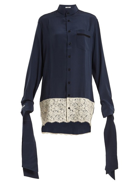 blouse shirtdress oversized silk navy dress
