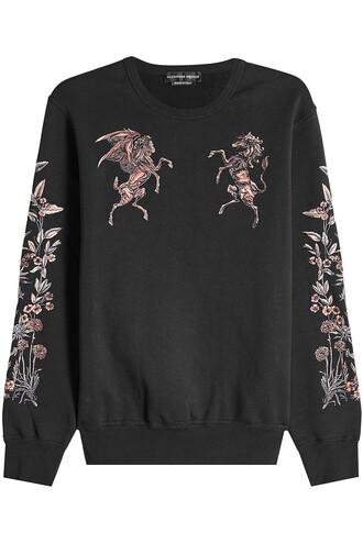 sweatshirt embroidered cotton black sweater