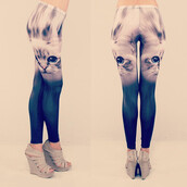leggings,sylvi label,kitten print,multicolor