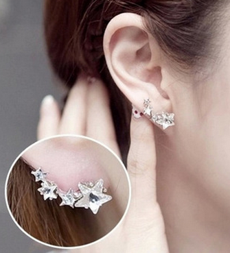 Star shaped austrian crystal stud earrings