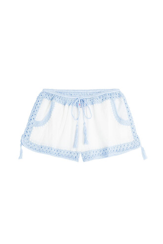 shorts cotton crochet white