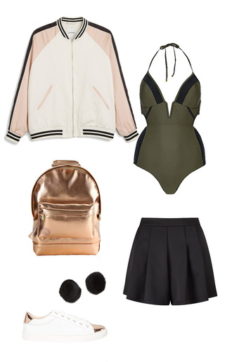 jacket bomber jacket black skorts khaki swimsuit metallic bag school bag pom poms fur pom pom white sneakers cute outfits back to school swimwear shorts shoes jewels bag