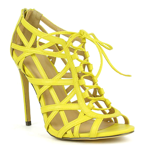 Originals – Common-17 Yellow Mustard Strappy Peep toe Lace up Pump ...