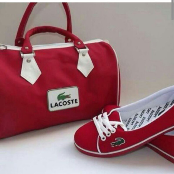 fe06abeb5a9c60 shoes, chaussures, lacoste, sac, red, bag, marques, blouse - Wheretoget